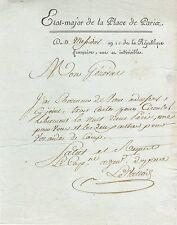 PLACE de PARIS 1802 / Libre circulation de nuit pour un général