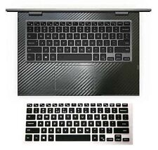 black carbon fiber Wrist Skin + Keyboard Cover for Dell Inspiron 13-7000 13-5000