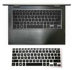 black carbon fiber Wrist Skin + Keyboard Cover for Dell Inspiron 13-7000 13-5000