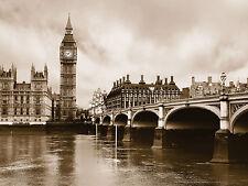 CITTÀ DI LONDRA PARLAMENTO BIG BEN FOTO Carta da parati murale Bianco & NERO