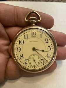 Vintage Gold Filled Waltham Antique Open Face Pocket Watch Non Working 23 Jewels