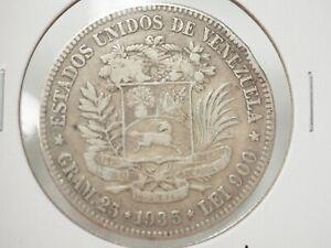 1935 LEI 900 Gram.25 Bolivar Libertador Estados Unidos De Venezuela  #3-353