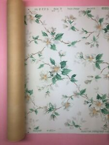 VINTAGE 1930's - SEARS - COLOR PERFECT WALLPAPER FLORAL ROLL FADE PROOF - NOS
