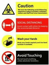 High Quality Caution, Social Distancing, Wash Your Hand Vinyl Sign Sticker UK