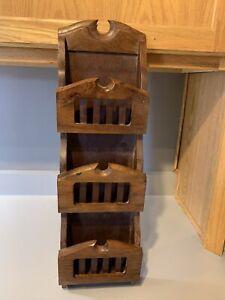Wooden Letter Holder With Key Hooks