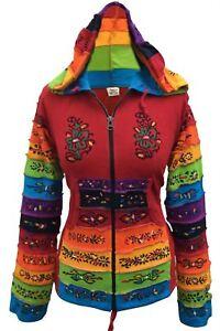 Women Rainbow Sleeved Flower Patch Hippie Hoodie Pixie Festival Jacket