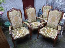 Rare et superbe ancienne serie de 4 fauteuils tapissés genre Voltaire