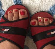 Tommy Hilfigger Vintage Red Flip Flop sandal heels womens sz 7 sporty