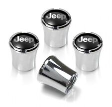 Jeep Logo Black and Silver Tire Valve Stem Caps Set of 4 MADE IN USA