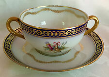RARE ANTIQUE GINORI SEVRES TROPHIES COBALT AND GOLD BOUILLON CUP AND SAUCER