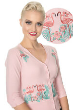 BANNED Apparel Vintage Dancing Days Retro Floral Pink Buttoned Flamingo Cardigan Blue M UK 12