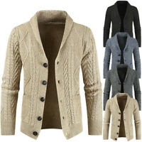 Mens Cable Knitted Cardigan with Pockets Buttoned Sweater Shawl Neck Winter New