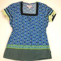 Koi Scrub Top Blue Floral Geometric Women's XS 119PR Uniform