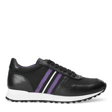 Ralph Lauren Purple Label черная невина полосатый телячьей кожи тренер кроссовок