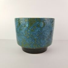 Mid Century Planter Pot Fat Lava Glaze Blue Green Vintage Cachepot Pottery 6""