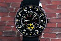 "Mens Wristwatch Pobeda Radiation Troops"" Vintage Soviet Watch /New Leather Strap"