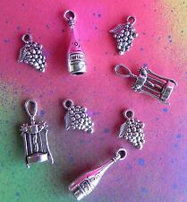 8 Wine Themed Charms Pendant Set Lot Collection Silver Grape Bottle Opener Cork