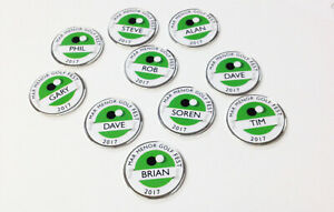 Personalised metal golf ball markers. Society Societies stag