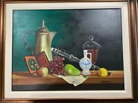 "H McCory 1971 ""Still Life Scene"" Oil On Canvas Painting - Signed And Framed"