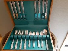 """New Listing Sterling Silver Flatware Set By Hallmark 1942 """"Ribbon Rose"""" Solid Repousse/Box"""