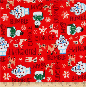 Camelot Fabrics Rudolph Character Names Flannel Red Cotton Flannel Fabric BTY