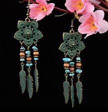Top- Dangle Drop Geometric Earrings Antique Green Boho India Feather/Flower