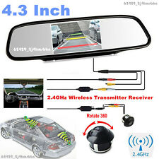 "Wireless 360° Front/Sides/Rear Parking Camera +4.3"" Color Mirror Display Monitor"