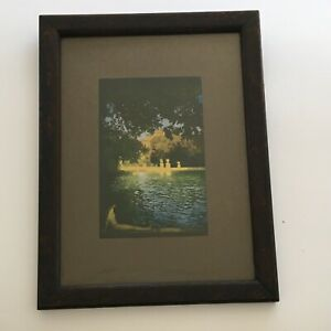 Antique Dark Oak Frame with Old Glass and Print