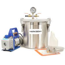 5 Gal Vacuum Chamber 3 CFM Deep Vane Pump Degas Purge Epoxy Silicone Resin Kit