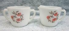 Old Fire King Fleurette Vintage Milk White Glass Creamer Sugar Bowl Set FREE S/H