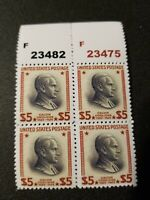 US SC# 834 1938 Calvin Coolidge $5 Replica Block of 4 Facsimilie Place Holders