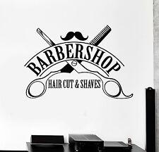 Vinyl Wall Decal Barbershop Hair Cut Shaves Scissors Stickers Mural (ig4394)
