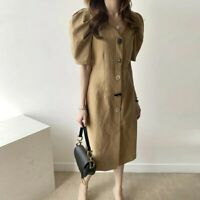 Brown Vintage Look Puff Sleeve midi dress womens corporate fashion size S uk 6 8