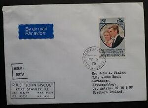 "RARE 1978 Falkland Islands Dep Cover ties 15p stamp ""RRS John Biscoe"" to Ireland"