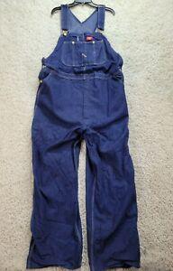 Dickies Men's Overalls 44x30 Blue Denim Pockets Adjustable Straps Cotton 2059