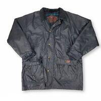 VTG Woolrich Black Green Plaid Wool Lined Barn Jacket Rain Winter Coat Mens XL