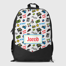 Personalised Gaming Gamer Controller Pattern Boys Children's School Bag Backpack
