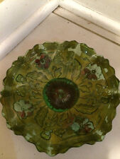 Antique Goofus Glass Bowl Vintage Vibrant Colors Beautiful Hand Painted Awesome!