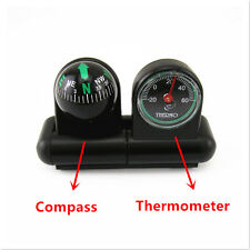 2in1 Car Compass + Thermometer Adhesive Removable Interiors Center Console