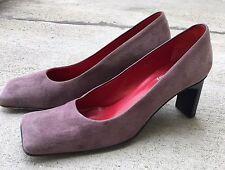Vintage Joan & David Square Toe Shoes Pumps Mauve Purple 6 1/2 M