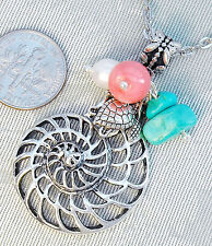 """FREE SHIP Shell Sea Turtle Gen.Turquoise Pink Coral Pearl Pendant Necklace 18"""""""