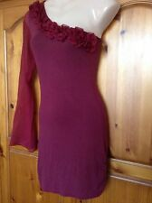 ❤️ Womens Miso Red Off The Shoulder Rose Dress Size 8 ❤️
