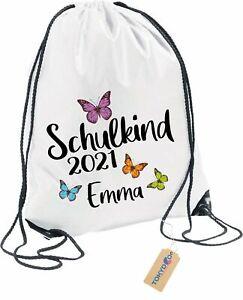 Turnbeutel mit Wunschnamen für Kinder Personalisiert Einschulung 2021 Schmetterl