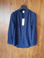 VERO MODA LONGLINE BLOUSE TOP Navy Blue Shirt Tunic M / UK 12 / 40 - NEW
