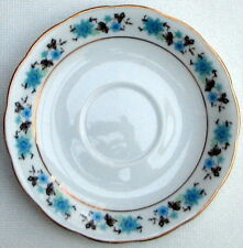 2x CHINESE Oriental TEA SAUCER 16cm white porcelain blue flower pattern & gilt..