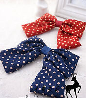 Girls Women Navy Red Bow Ribbon Polka dots School color Hair head clip barrette