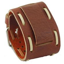 Nemesis HIN-TB Wide Brown Stitching Leather Cuff Wrist Watch Band