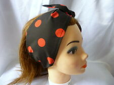 BLACK RED POLKA DOT ROCKABILLY 1950'S VINTAGE STYLE LOOK HEADSCARF HAIR WRAP