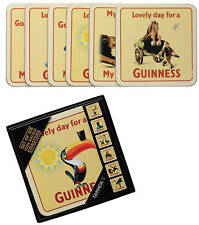 Six Guinness Heritage Ads. Cork Backed coasters in storage box (sg)