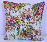 "16"" INDIAN WHITE FLORAL CUSHION PILLOW COVERS KANTHA THROW Ethnic Decorative Art"